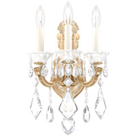 Schonbek 5071-27 Lascala 3 Light 8 inch Parchment Gold Wall Sconce Wall Light in Cast Parchment Gold La Scala Heritage
