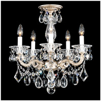 Schonbek 5345-48A La Scala 5 Light 18 inch Antique Silver Semi Flush Mount Ceiling Light in Clear Spectra, Convertible to Pendant