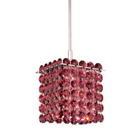 Schonbek Matrix 1 Light Pendant in Stainless Steel and Cinnabar Swarovski Elements Trim MT0404CIN