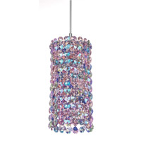 Schonbek Matrix 1 Light Pendant in Stainless Steel and Blossom Swarovski Elements Trim MC0408BLO photo thumbnail
