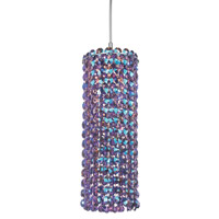 Schonbek Matrix 1 Light Pendant in Stainless Steel and Violet Swarovski Elements Trim MC0410VIO