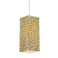 Schonbek Matrix 1 Light Pendant in Stainless Steel and Golden Swarovski Elements Trim MT0510GOL photo thumbnail