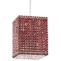 Schonbek Matrix 4 Light Pendant in Stainless Steel and Cinnabar Swarovski Elements Trim MT0810CIN