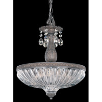 Schonbek Milano 4 Light Pendant in Royal Pewter and Silver Shade Swarovski Elements Colors Trim 5639-84SH