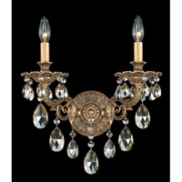 Schonbek Milano 2 Light Wall Sconce in Florentine Bronze and Golden Shadow Swarovski Elements Colors Trim 5642-83GS