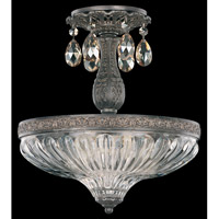 Schonbek Milano 3 Light Semi Flush Mount in Royal Pewter and Golden Shadow Swarovski Elements Colors Trim 5645-84GS
