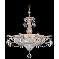 Schonbek Milano 3 Light Pendant in Parchment Gold and Clear Spectra Crystal Trim 5652-27A
