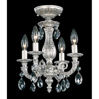 Schonbek Milano 4 Light Semi Flush Mount in Roman Silver and Clear Spectra Crystal Trim 5654-80A