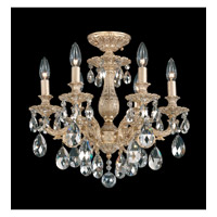 Schonbek Milano 6 Light Semi Flush Mount in Parchment Gold and Silver Shade Swarovski Elements Colors Trim 5656-27SH