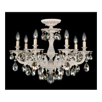 Schonbek Milano 7 Light Semi Flush Mount in Provincial Gold and Golden Shadow Swarovski Elements Colors Trim 5657-85GS