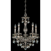 Schonbek Milano 5 Light Chandelier in Gilded Pewter and Golden Shadow Swarovski Elements Colors Trim 5674-89GS