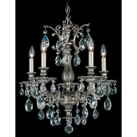 Schonbek Milano 5 Light Chandelier in Roman Silver and Clear Spectra Crystal Trim 5675-80A