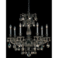 Schonbek Milano 7 Light Chandelier in Royal Pewter and Golden Teak Swarovski Elements Colors Trim 5677-84TK
