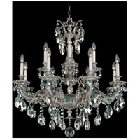 Schonbek Milano 12 Light Chandelier in Cypress and Silver Shade Swarovski Elements Colors Trim 5682-88SH photo thumbnail