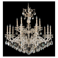 Schonbek Milano 15 Light Chandelier in Provincial Gold and Golden Shadow Swarovski Elements Colors Trim 5685-85GS