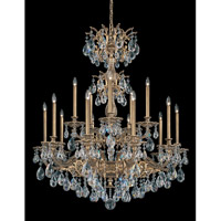 Schonbek Milano 15 Light Chandelier in Florentine Bronze and Clear Spectra Crystal Trim 5686-83A