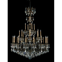 Schonbek Milano 28 Light Chandelier in Midnight Gild and Silver Shade Swarovski Elements Colors Trim 5688-86SH