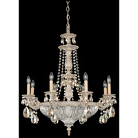 Schonbek Milano 12 Light Chandelier in Provincial Gold and Golden Shadow Swarovski Elements Colors Trim 5692-85GS