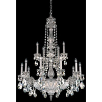 Schonbek Milano 19 Light Chandelier in Roman Silver and Silver Shade Swarovski Elements Colors Trim 5694-80SH