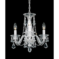 Schonbek Minuet 3 Light Chandelier in Silver and Clear Heritage Handcut Trim 6983CL