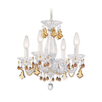 Schonbek Minuet 4 Light Chandelier in Silver and Topaz Vintage Crystal Trim 6984TO