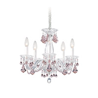 Schonbek Minuet 5 Light Chandelier in Silver and Pink Vintage Crystal Trim 6985PK