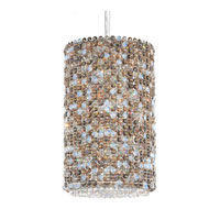 Schonbek Matrix 4 Light Pendant in Stainless Steel and Travertine Swarovski Elements Trim MC1016TRA
