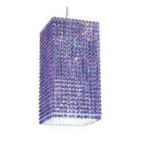 Schonbek Matrix 4 Light Pendant in Stainless Steel and Violet Swarovski Elements Trim MT0816VIO