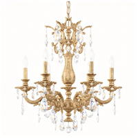 Schonbek 5676-26O Milano 6 Light 24 inch French Gold Chandelier Ceiling Light in Cast French Gold Milano Optic