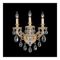 Schonbek Milano 3 Light Wall Sconce in Parchment Gold and Silver Shade Swarovski Elements Colors Trim 5643-27SH