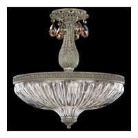 Schonbek Milano 4 Light Semi Flush Mount in Cypress and Golden Teak Swarovski Elements Colors Trim 5646-88TK