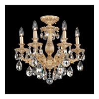 Milano 6 Light 17 inch Parchment Gold Semi Flush Mount Ceiling Light in Clear Swarovski
