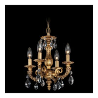 Schonbek Milano 4 Light Chandelier in Florentine Bronze and Clear Spectra Crystal Trim 5660-83A