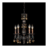 Schonbek Milano 5 Light Chandelier in Coppertina and Golden Teak Swarovski Elements Colors Trim 5665-87TK