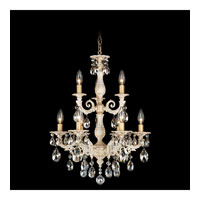 Schonbek Milano 9 Light Chandelier in Provincial Gold and Silver Shade Swarovski Elements Colors Trim 5672-85SH