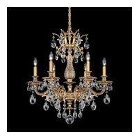 Schonbek Milano 6 Light Chandelier in Florentine Bronze and Clear Spectra Crystal Trim 5676-83A