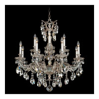 Schonbek Milano 12 Light Chandelier in Cypress and Silver Shade Swarovski Elements Colors Trim 5682-88SH