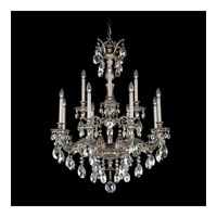Schonbek Milano 12 Light Chandelier in Roman Silver and Silver Shade Swarovski Elements Colors Trim 5683-80SH