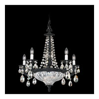 Schonbek Milano 7 Light Chandelier in Ferro Black and Silver Shade Swarovski Elements Colors Trim 5690-59SH