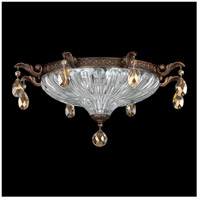 Milano 3 Light Heirloom Bronze Flush Mount Ceiling Light in Golden Teak
