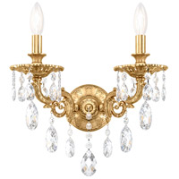 Schonbek 5642-22S Milano 2 Light 8 inch Heirloom Gold Wall Sconce Wall Light in Clear Swarovski