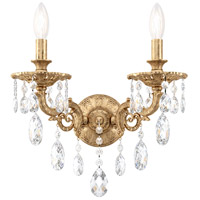 Schonbek 5642-26O Milano 2 Light 8 inch French Gold Wall Sconce Wall Light in Cast French Gold Milano Optic