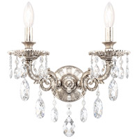 Schonbek 5642-48O Milano 2 Light 8 inch Antique Silver Wall Sconce Wall Light in Cast Antique Silver Milano Optic