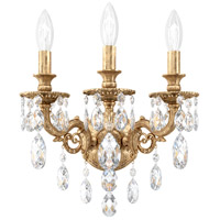 Schonbek 5643-27S Milano 3 Light 9 inch Parchment Gold Wall Sconce Wall Light in Clear Swarovski