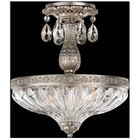 Milano 3 Light 12 inch Antique Silver Semi Flush Mount Ceiling Light in Silver Shade
