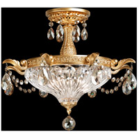 Milano 2 Light 17 inch French Gold Semi Flush Mount Ceiling Light in Golden Shadow