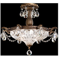 Schonbek 5649-23A Milano 3 Light 19 inch Etruscan Gold Semi Flush Mount Ceiling Light in Clear Spectra