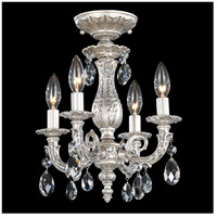 Milano 4 Light 12 inch Roman Silver Semi Flush Mount Ceiling Light in Clear Spectra