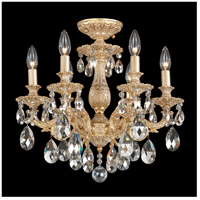 Milano 6 Light 17 inch Parchment Gold Semi Flush Mount Ceiling Light in Silver Shade