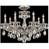 Milano 7 Light 24 inch Roman Silver Semi Flush Mount Ceiling Light in Silver Shade